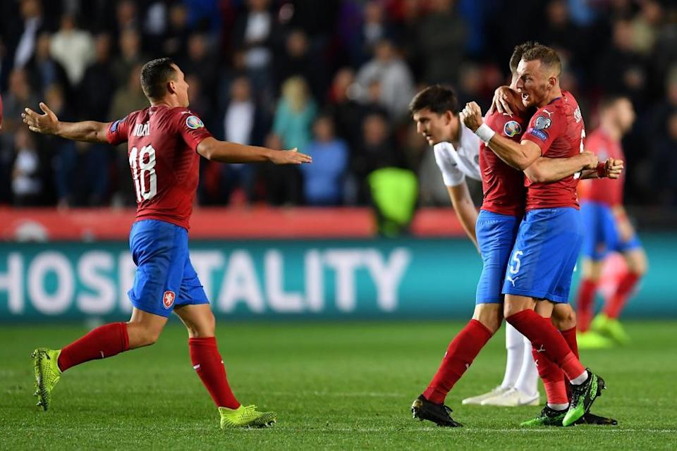 Czech Republic players celebrate after beating England in October 2019.