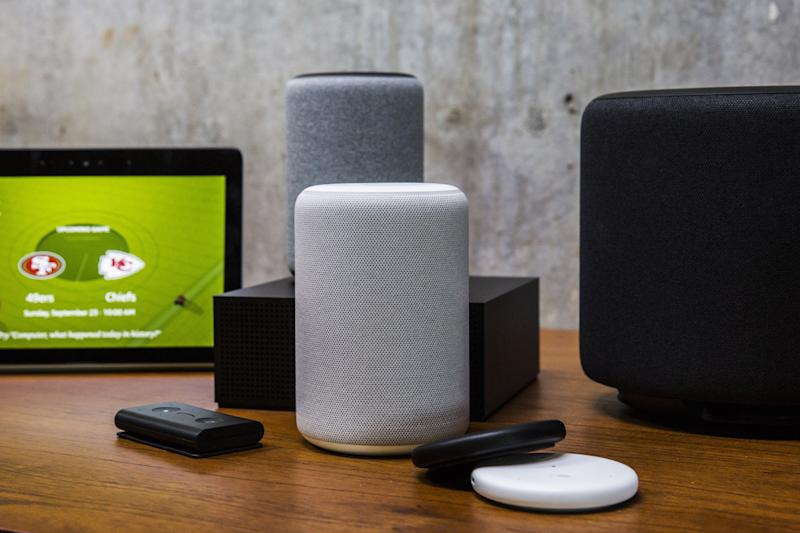 Amazon smart devices sit on display during an unveiling event at the Amazon.com Inc. Spheres headquarters in Seattle, Washington, U.S., on Thursday, Sept. 20, 2018. Amazon.com Inc. unveiled its vision for smart homes powered by the Alexa voice assistant, with a dizzying array of new gadgets and features for almost every room in the house -- from a microwave oven to a security camera and wall clock. Photographer: Andrew Burton/Bloomberg via Getty Images