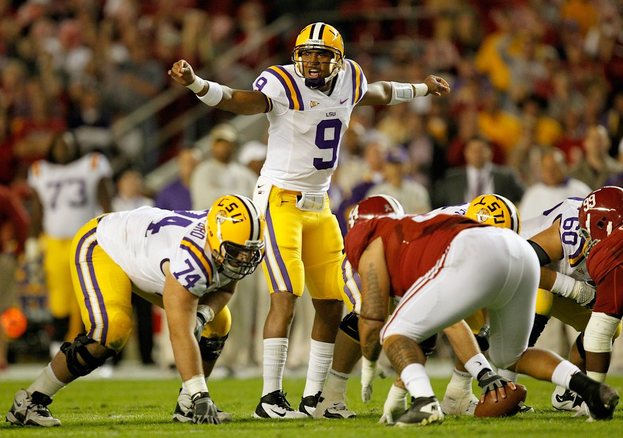 TUSCALOOSA, AL - NOVEMBER 05:  Jordan Jefferson #9 of the LSU Tigers calls a play against the Alabama Crimson Tide during the first half of the game at Bryant-Denny Stadium on November 5, 2011 in Tuscaloosa, Alabama.  (Photo by Streeter Lecka/Getty Images)