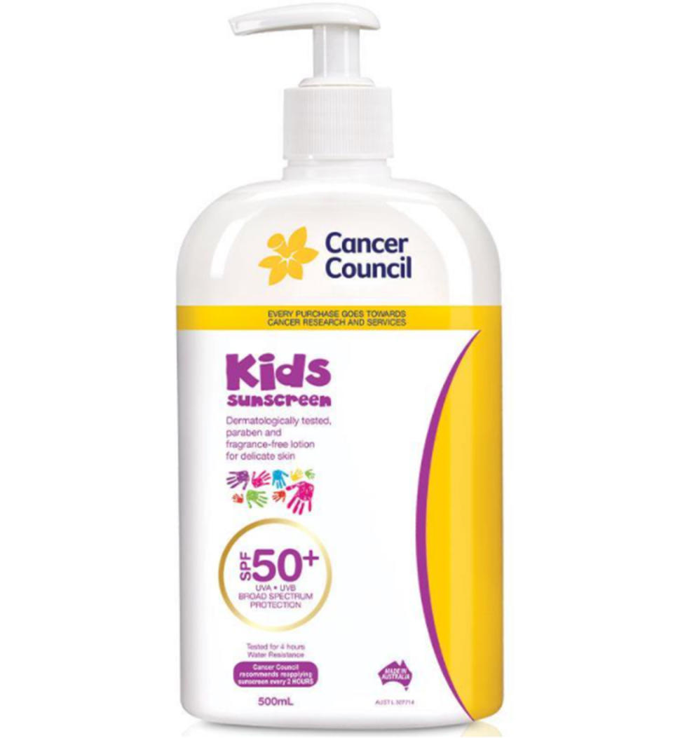 Cancer Council SPF 50+ Kids 500ml Pump, $18.69 from Chemist Warehouse