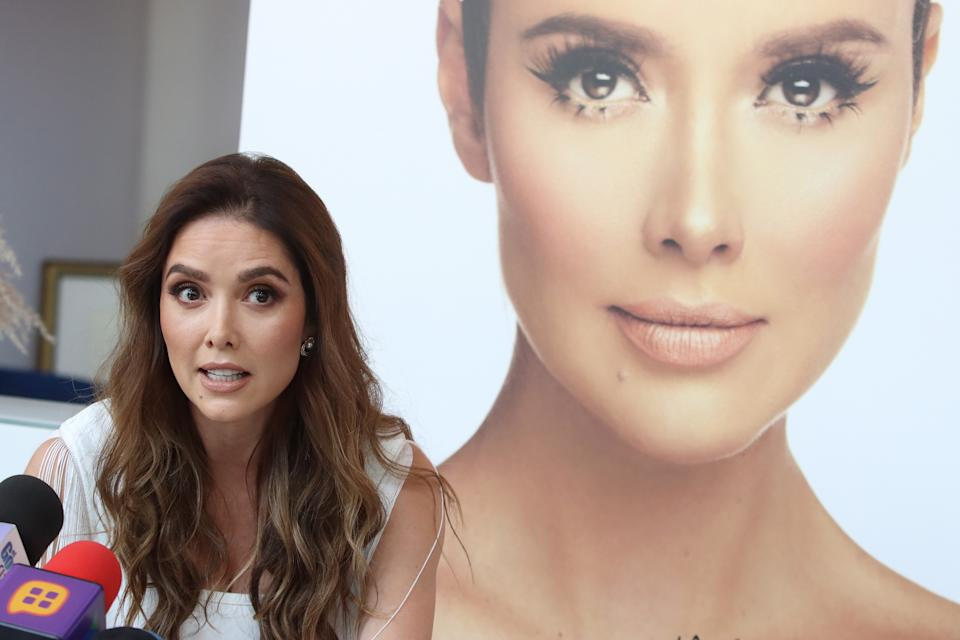 MEXICO CITY, MEXICO - AUGUST 30: Marlene Favela speaks during the launch of her cosmetic line on August 30, 2021 in Mexico City, Mexico. (Photo by Adrián Monroy/Medios y Media/Getty Images)
