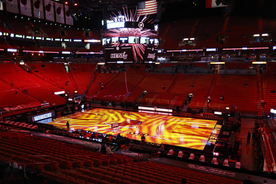 A general view of the American Airlines Arena prior to an NBA basketball game between the Indiana Pacers and the Miami Heat, Friday, March 19, 2021, in Miami. (AP Photo/Joel Auerbach)