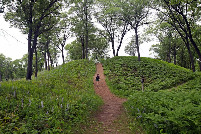 A hiker follows the Miller Woods trail up a small hill in Indiana Dunes National Park.