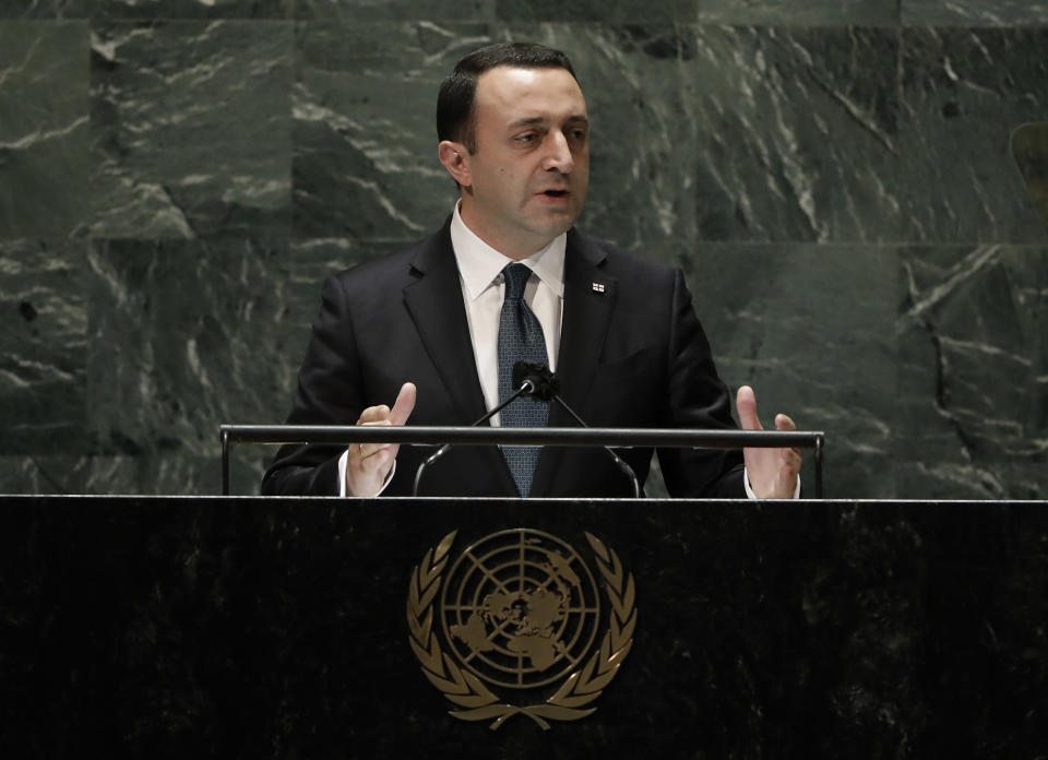Prime Minister of Georgia, Irakli Garibashvili addresses the 76th session of the United Nations General Assembly, Friday Sept. 24, 2021, at UN headquarters. (Peter Foley/Pool Photo via AP)