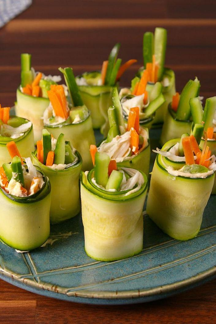 """<p>These little bites are reminiscent of a California roll, but they are fresher, easier to make, and actually good for you.</p><p>Get the recipe from <a href=""""https://www.delish.com/cooking/recipe-ideas/recipes/a52239/zucchini-sushi-recipe/"""" rel=""""nofollow noopener"""" target=""""_blank"""" data-ylk=""""slk:Delish"""" class=""""link rapid-noclick-resp"""">Delish</a>.</p>"""