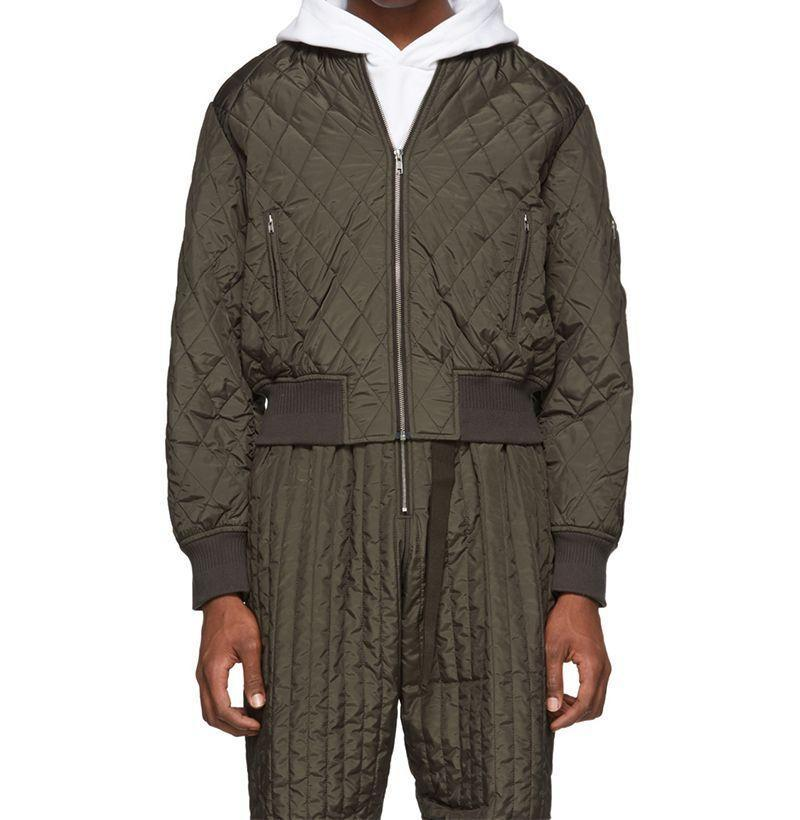 """<p><strong>Random Identities</strong></p><p>ssense.com</p><p><strong>$350.00</strong></p><p><a href=""""https://go.redirectingat.com?id=74968X1596630&url=https%3A%2F%2Fwww.ssense.com%2Fen-us%2Fmen%2Fproduct%2Frandom-identities%2Fkhaki-quilted-bomber-jacket%2F5508451&sref=https%3A%2F%2Fwww.esquire.com%2Fstyle%2Fnews%2Fg2932%2F10-best-bomber-jackets-for-fall%2F"""" rel=""""nofollow noopener"""" target=""""_blank"""" data-ylk=""""slk:Buy"""" class=""""link rapid-noclick-resp"""">Buy</a></p><p>A fully lined take made out of technical satin with sleek, silver tone hardware for all you too-cool-for-school cats into that sort of thing. </p>"""