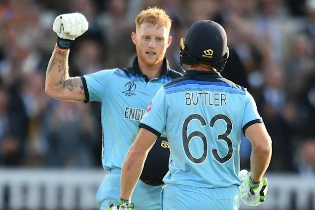 England's Ben Stokes and Jos Buttler were chosen to bat in the World Cup final Super Over (AFP Photo/Glyn KIRK )