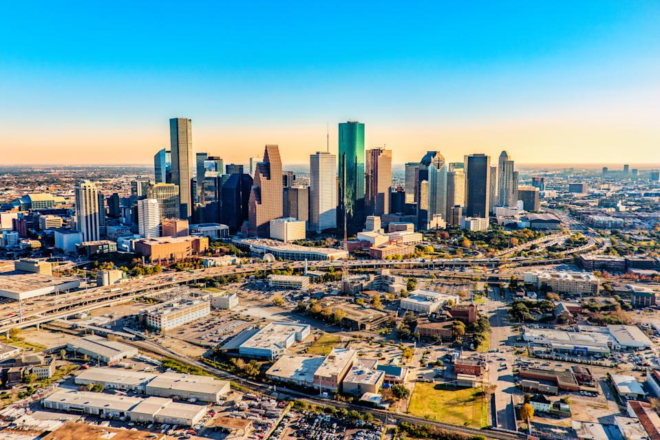 Downtown Houston Texas shot near dusk from an altitude of about 1200 feet over the city.