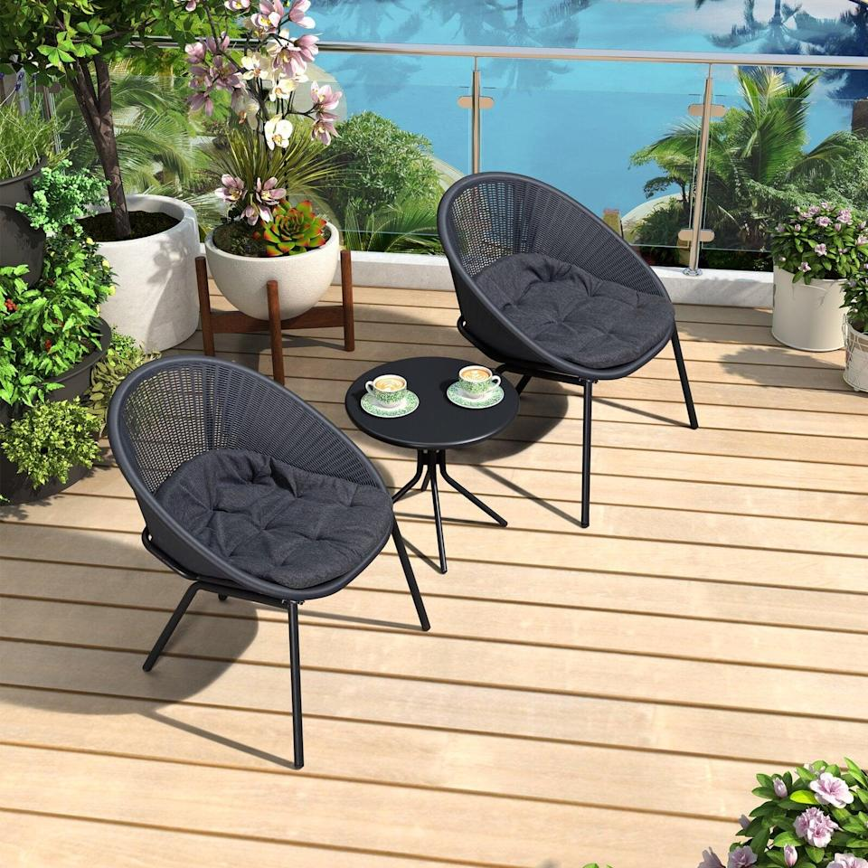 <p>This <span>Whitlock 3 Piece Bistro Set With Cushions</span> ($270) is so modern and sleek.</p>