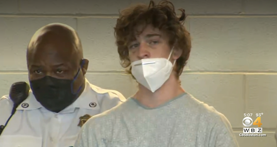 Pictured is 19-year-old Jack Callahan, in court, after he was arrested and charged with his father's murder.