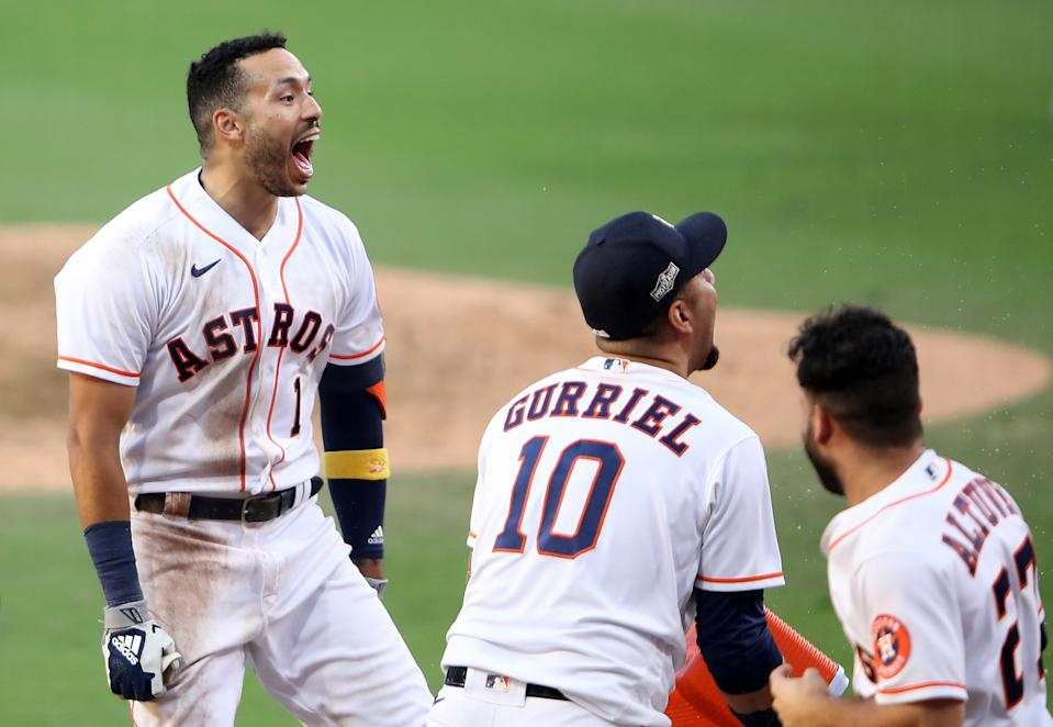 Carlos Correa's walk-off homer gave the Astros a win in Game 5 of the ALCS on Thursday. (Photo by Sean M. Haffey/Getty Images)