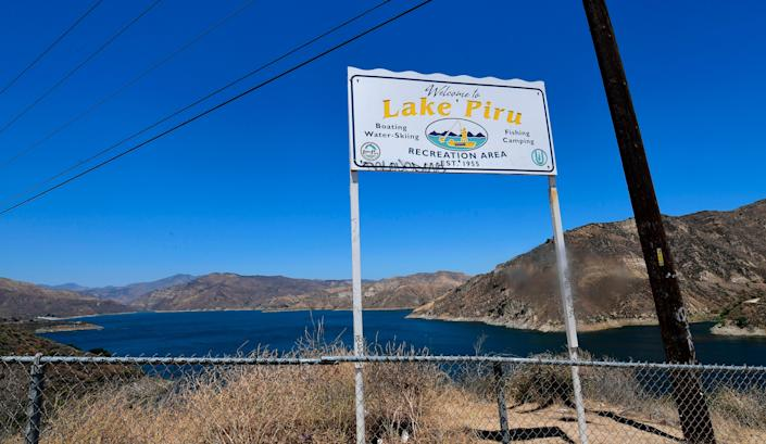 A view of Lake Piru in the Los Padres National Forest in Ventura County, California on July 9, 2020.