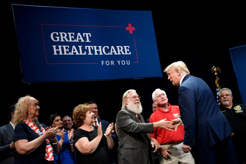 US President Donald Trump arrives for an executive order signing regarding Medicare at Sharon L. Morse Performing Arts Center October 3, 2019, in The Villages, Florida. (Photo by Brendan Smialowski / AFP) (Photo by BRENDAN SMIALOWSKI/AFP via Getty Images)