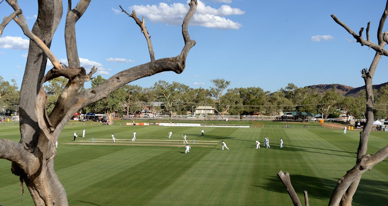 ALICE SPRINGS, AUSTRALIA - NOVEMBER 29:  General view of play during day one of the tour match between the Chairman's XI and England at Traeger Park on November 29, 2013 in Alice Springs, Australia.  (Photo by Gareth Copley/Getty Images)