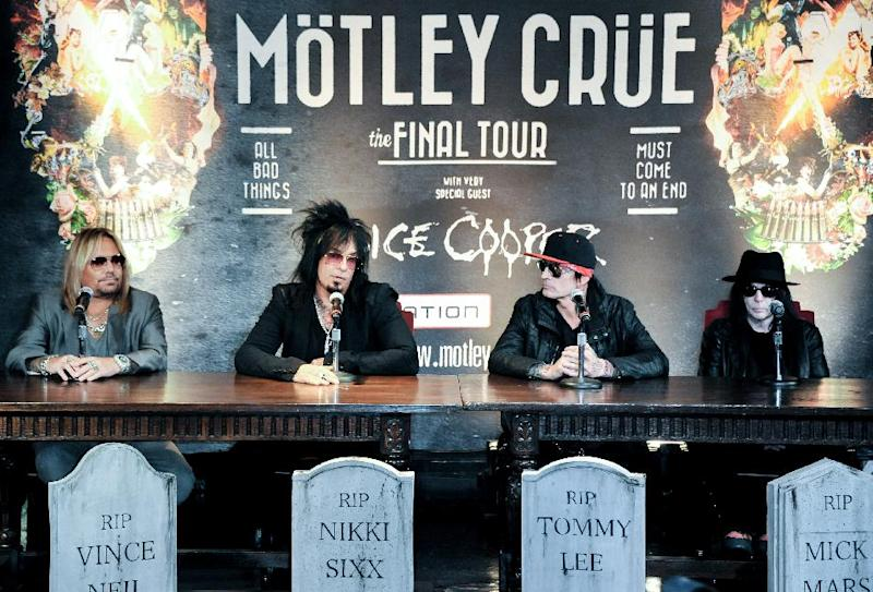 From left, Vince Neil, Nikki Sixx, Tommy Lee, and Mick Mars attend the Motley Crue Press Conference, Tuesday, Jan. 28, 2014, in Los Angeles. The heavy-metal band says it will retire after performing 72 goodbye concerts. The band made the announcement at their press conference. (Photo by Richard Shotwell/Invision/AP)