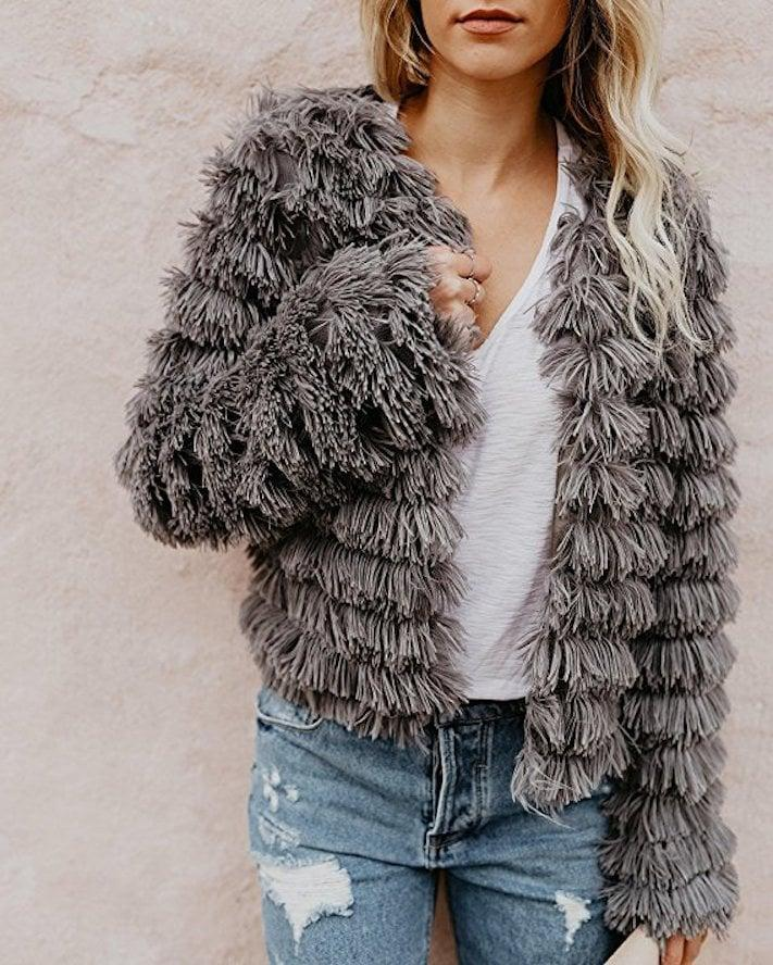 <p>This <span>Faisean Shaggy Jacket</span> ($33) is beyond chic.</p>