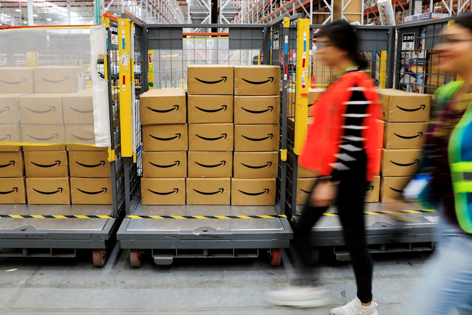 Amazon packages are seen at the new Amazon warehouse during its opening announcement on the outskirts of Mexico City, Mexico July 30, 2019. Picture taken July 30 2019. REUTERS/Carlos Jasso