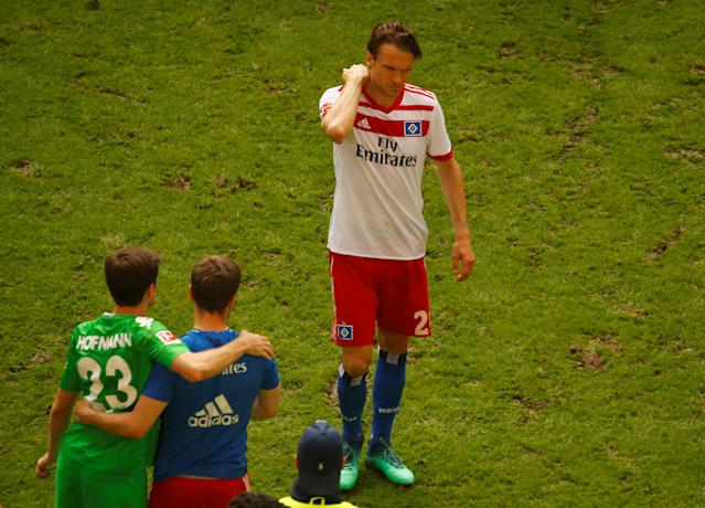 Soccer Football - Bundesliga - Hamburger SV v Borussia Moenchengladbach - Volksparkstadion, Hamburg, Germany - May 12, 2018 Hamburg's Albin Ekdal looks dejected at the end of the match REUTERS/Morris Mac Matzen DFL RULES TO LIMIT THE ONLINE USAGE DURING MATCH TIME TO 15 PICTURES PER GAME. IMAGE SEQUENCES TO SIMULATE VIDEO IS NOT ALLOWED AT ANY TIME. FOR FURTHER QUERIES PLEASE CONTACT DFL DIRECTLY AT + 49 69 650050