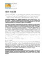 Josemaria Resources Inc  Provides Update on Feasibility