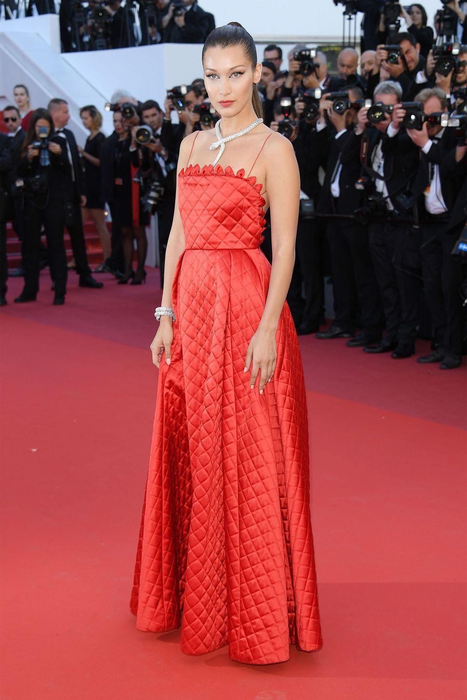 <p>In a red quilted Dior dress and Bulgari jewels at the premiere of <em>Okja</em> at Cannes Film Festival.</p>