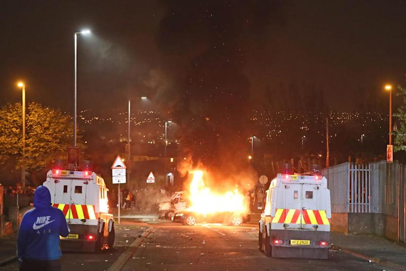Hijacked vehicles on fire in Creggan (PA)