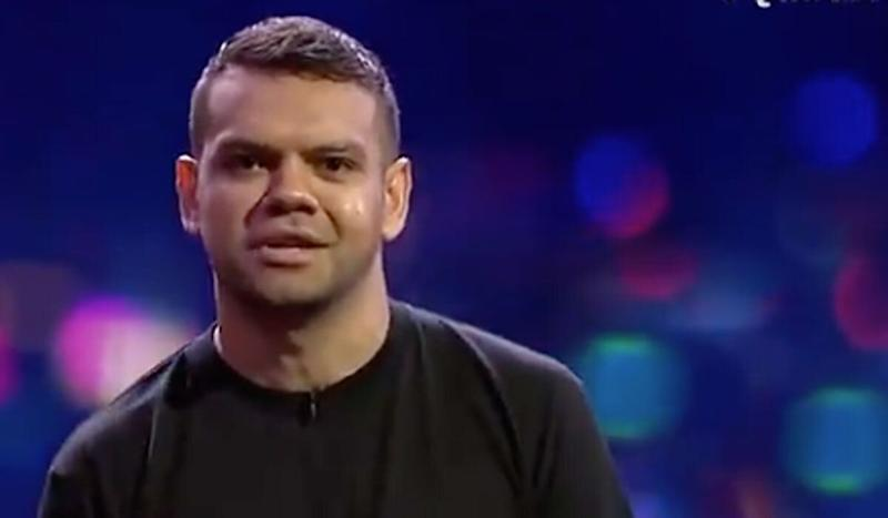 Meyne Wyatt delivered his stirring and relevant speech from his play, 'City Of Gold', condemning police brutality and racism in Australia. (Photo: ABC)