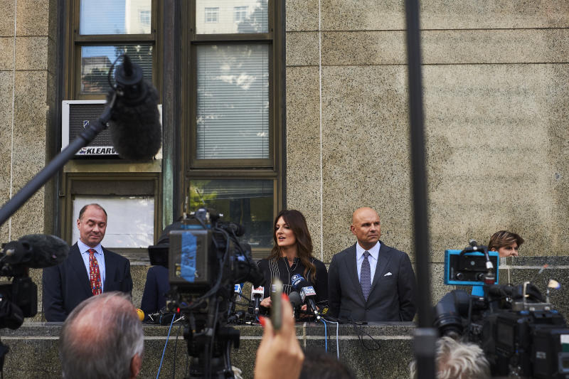 Donna Rotunno, Harvey Weinstein's lead lawyer, speaks to reporters outside court in Manhattan, Aug. 26, 2019. (John Taggart/The New York Times)