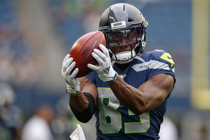 SEATTLE, WA - AUGUST 08: Wide receiver David Moore #83 of the Seattle Seahawks warms up prior to the game against the Denver Broncos at CenturyLink Field on August 8, 2019 in Seattle, Washington. (Photo by Otto Greule Jr/Getty Images)