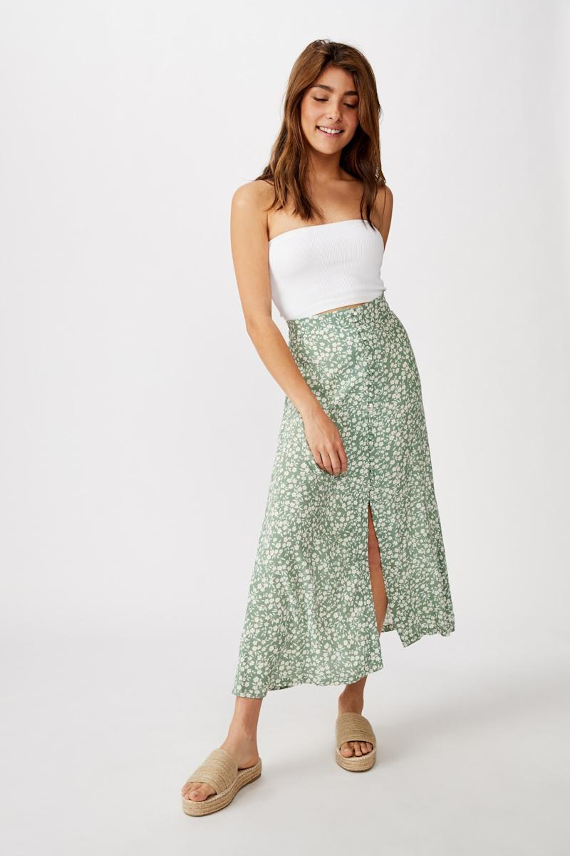 The Summer Button Midi Skirt is now just $27. Photo: Cotton On