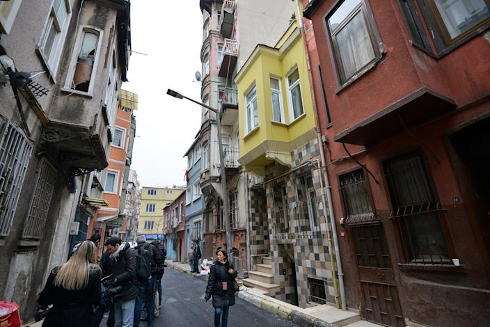 <p> FILE - This Jan. 28, 2013 file photo shows a view of the street with the hostel, in yellow, where Sarai Sierra, a New York City woman was staying in Istanbul, Turkey. Sierra, a 33-year-old mother of two, went missing while vacationing alone in Istanbul. Her body was discovered Feb. 2 amid the ancient city walls in low-income district of Sarayburnu in Istanbul. Recent high-profile attacks on tourists in India, Brazil, Turkey and Mexico have raised questions about personal safety for overseas travel, especially for women. But frequent travelers and those who work in the industry say a few common-sense precautions can go a long way to ensuring personal safety. (AP Photo, file)</p>