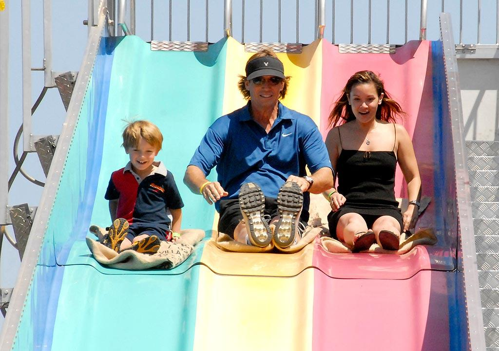 """Hercules"" star Kevin Sorbo hits the slides with his youngest son Shane. Barry King/<a href=""http://www.wireimage.com"" target=""new"">WireImage.com</a> - June 8, 2008"