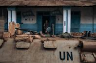 A UN peacekeeper patrols the Central African Republic city of Bangassou, which was seized by rebels