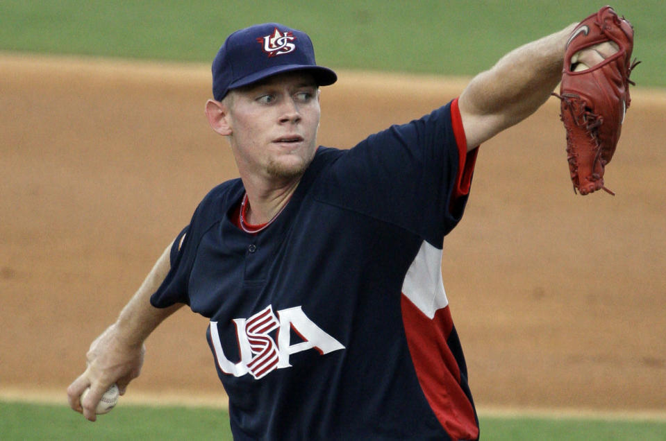 Nationals star Stephen Strasburg was among the baseball players in Beijing. (AP Photo)