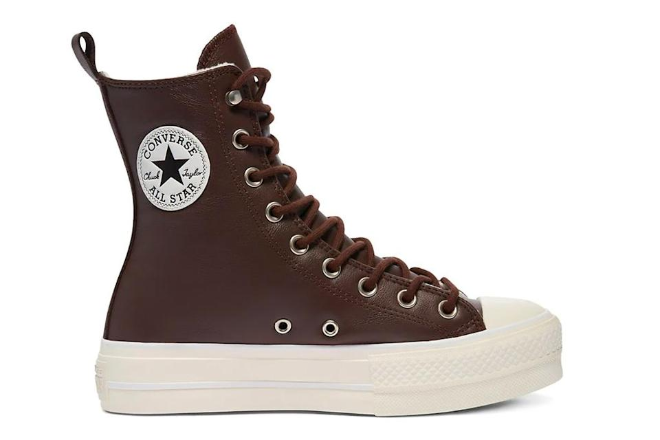 sneakers, brown leather, converse