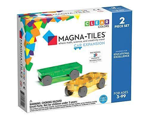 "<p><strong>Magna Tiles</strong></p><p>amazon.com</p><p><strong>$10.49</strong></p><p><a href=""https://www.amazon.com/dp/B01HFGY426?tag=syn-yahoo-20&ascsubtag=%5Bartid%7C10050.g.34485299%5Bsrc%7Cyahoo-us"" rel=""nofollow noopener"" target=""_blank"" data-ylk=""slk:Shop Now"" class=""link rapid-noclick-resp"">Shop Now</a></p><p>For ages 3+, this set comes with 14 pieces that can magically transform into two fun cars. </p>"