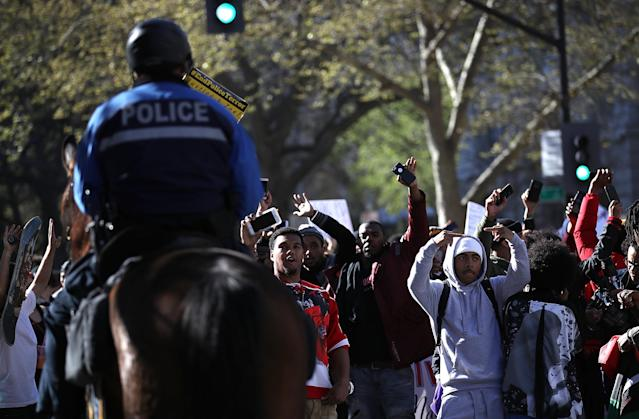 Protestors gathered in Sacramento over the death of Stephon Clark. (Getty Images)