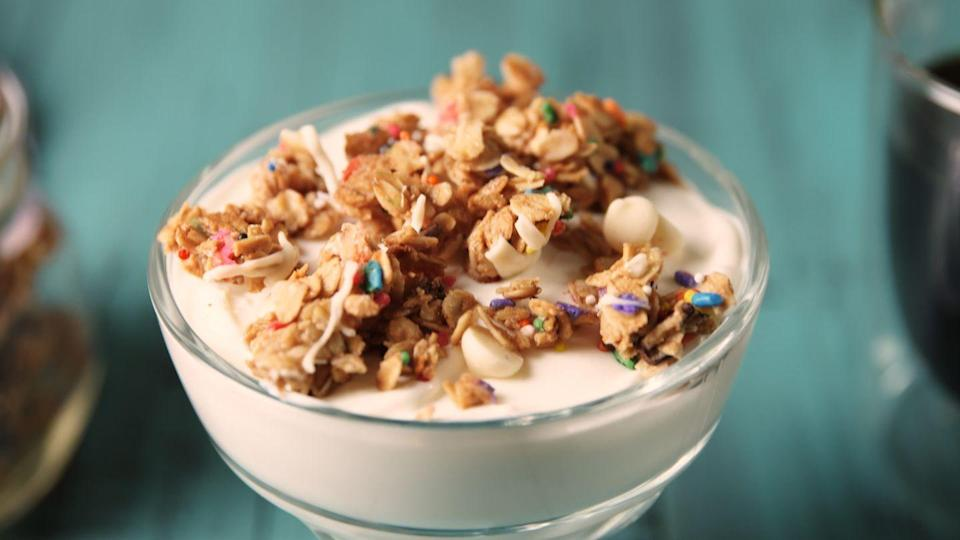 """<p>There's no denying that the colorful pop of sprinkles makes EVERYTHING better.</p><p>Get the recipe from <a href=""""https://www.delish.com/cooking/recipe-ideas/recipes/a49005/birthday-cake-granola-recipe/"""" rel=""""nofollow noopener"""" target=""""_blank"""" data-ylk=""""slk:Delish"""" class=""""link rapid-noclick-resp"""">Delish</a>.</p>"""