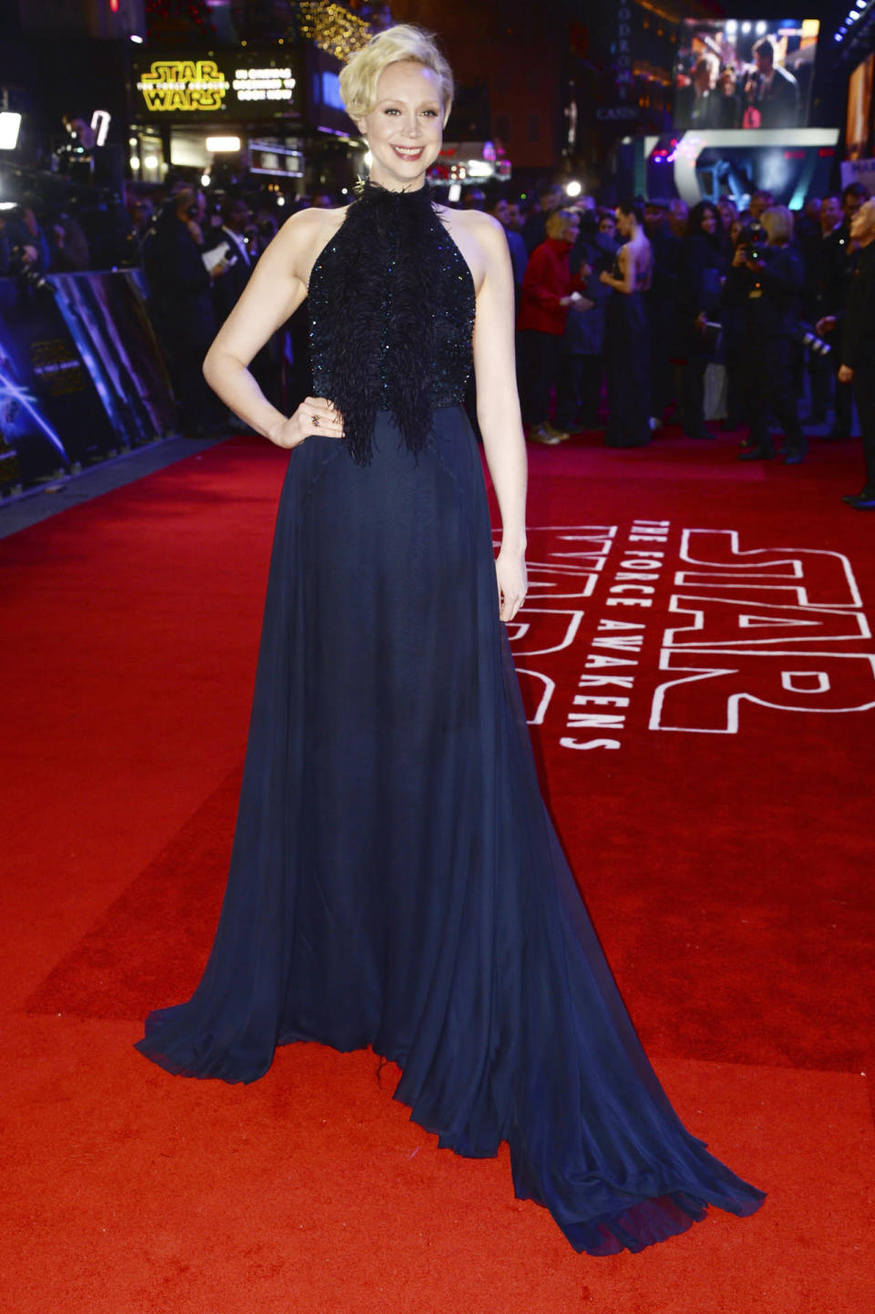 <p>Christie glowed on her hometown carpet, where she wore a black and navy dress with a sparkling fringed bodice and a flowing skirt. </p><p><i>Photo: Getty Images</i></p>