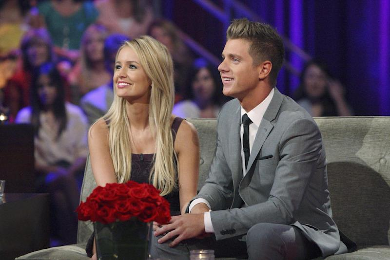 """FILE - This July 22, 2012 publicity file photo released by ABC shows Emily Maynard, left, and Jef Holm on """"The Bachelorette: After the Final Rose,"""" during a live broadcast in the Hollywood section of Los Angeles. Maynard's second turn as part of ABC's """"Bachelor'/'Bachelorette"""" franchise has ended with a broken engagement. Maynard and Holm have confirmed they have ended their relationship as reported by People magazine on Oct. 16, 2012. (AP Photo/ABC, Rick Rowell, File)"""