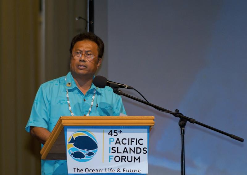 Palau President Tommy Remengesau delivers a speech at the opening night of the 45th Pacific Islands Forum in Palau on July 29, 2014