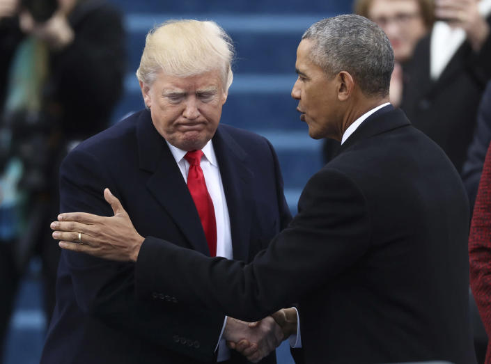 <p>President Barack Obama (R) greets President elect Donald Trump at inauguration ceremonies swearing in Donald Trump as the 45th president of the United States on the West front of the U.S. Capitol in Washington on Jan. 20, 2017. (Photo: Carlos Barria/Reuters) </p>