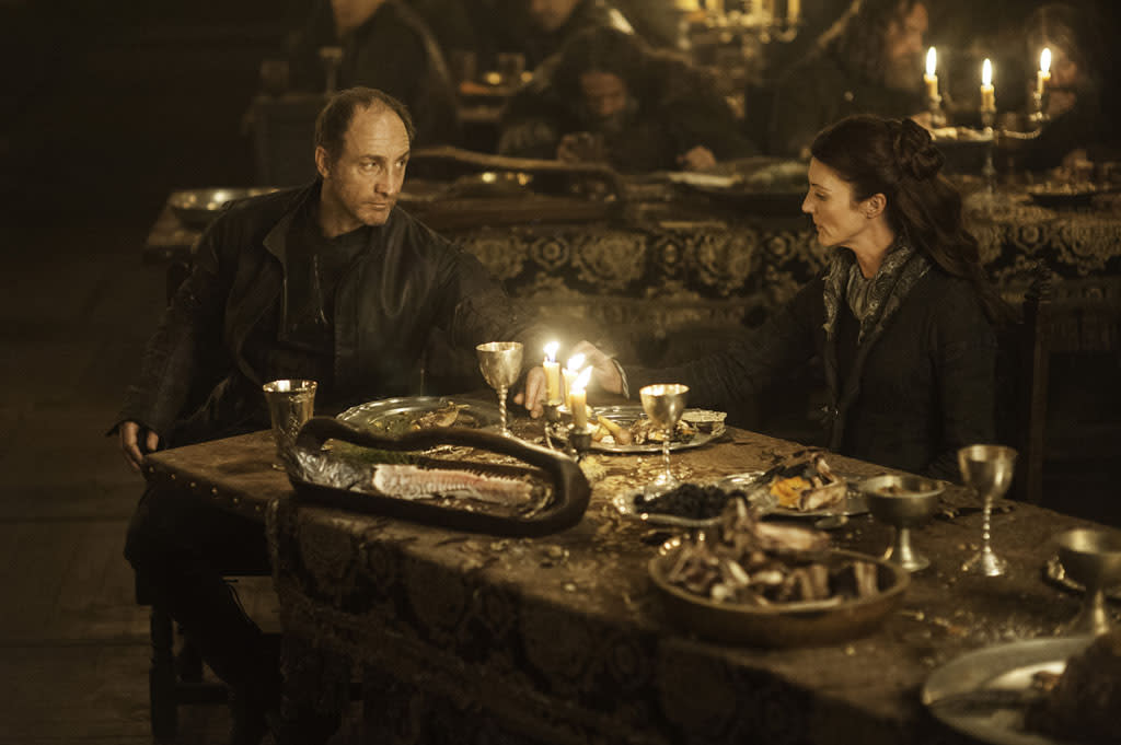 "Michael McElhatton and Michelle Fairley in the ""Game of Thrones"" episode, ""The Rains of Castamere."""
