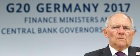 German Finance Minister Wolfgang Schaeuble addresses a news conference at the G20 Finance Ministers and Central Bank Governors Meeting in Baden-Baden