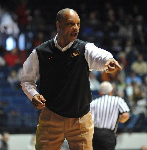 LSU head coach Trent Johnson instructs to his team during an NCAA college basketball game against Mississippi, Saturday, Feb. 25, 2012, in Oxford, Miss. (AP Photo/Oxford Eagle, Bruce Newman)