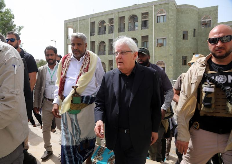 UN peace envoy for Yemen Martin Griffiths is holding talks on a pullback of government and rebel forces from Hodeida, the entry point for aid to the country