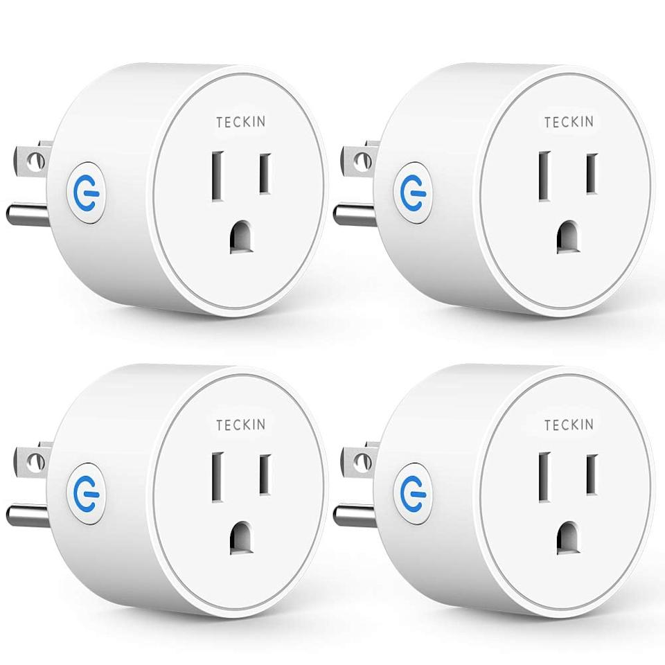 """<p>Control your outlets wirelessly with these cool <a href=""""https://www.popsugar.com/buy/Smart-Plugs-Compatible-Alexa-Google-Assistant-537936?p_name=Smart%20Plugs%20Compatible%20With%20Alexa%20Google%20Assistant&retailer=amazon.com&pid=537936&price=30&evar1=geek%3Aus&evar9=45708741&evar98=https%3A%2F%2Fwww.popsugartech.com%2Fphoto-gallery%2F45708741%2Fimage%2F47083003%2FSmart-Plugs-Compatible-With-Alexa-Google-Assistant&list1=shopping%2Camazon%2Cgadgets%2Ctech%20shopping&prop13=mobile&pdata=1"""" rel=""""nofollow"""" data-shoppable-link=""""1"""" target=""""_blank"""" class=""""ga-track"""" data-ga-category=""""Related"""" data-ga-label=""""https://www.amazon.com/Assistant-Control-Function-Required-Upgrade/dp/B07FVST9YN/ref=sr_1_15?crid=3EPLGEQX458BH&amp;keywords=home+tech+gadgets&amp;qid=1578439655&amp;sprefix=home+tech+%2Caps%2C200&amp;sr=8-15"""" data-ga-action=""""In-Line Links"""">Smart Plugs Compatible With Alexa Google Assistant</a> ($30).</p>"""