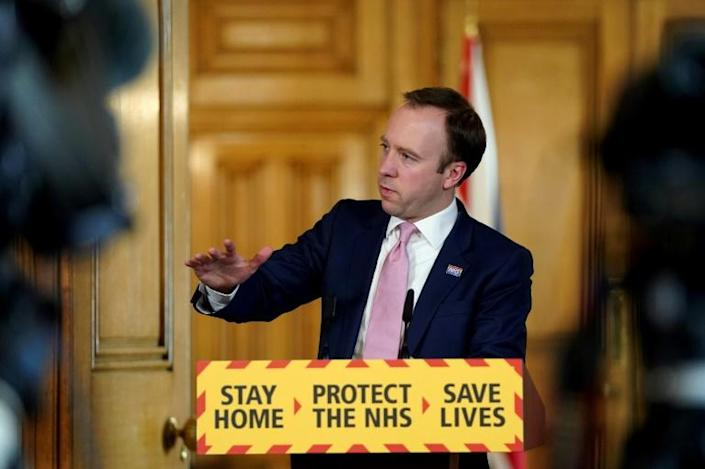 Britain's Health Secretary Matt Hancock warned lockdown conditions would be tightened to include banning outside exercise if people flout stringent anti-virus guidelines (AFP Photo/Pippa FOWLES)