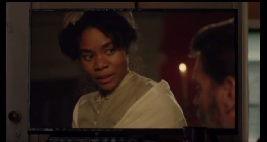 """<p>Just like us, Issa, Lawrence, and their friends are addicted to a TV show. <em>Due North</em> is set in the antebellum South and centers on a slave (Regina Hall) and the master she loves (Scott Foley). <em>Insecure</em>'s showrunner has described it as """"<em>Scandal</em> meets <em>Underground</em>."""" What started off as a joke in the writers room became an actual thing; eight episodes of <em>Due North</em> were written and filmed like a real show. The funniest part is watching the <em>Insecure</em> characters get so into it, like when Chad yells, """"Bitch, let the bitch read!"""" at his screen. If only we could binge it too! —<em>KW</em><br>(Photo: HBO) </p>"""