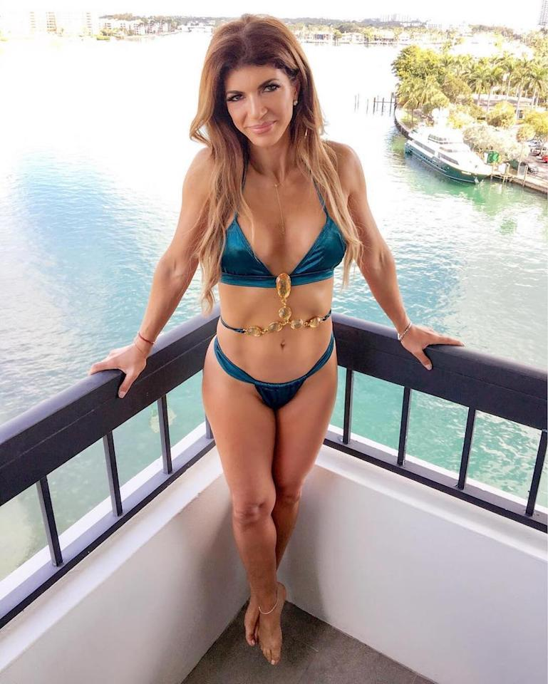"<p>The 44-year-old mother of four showed off her incredibly fit bikini bod while on vacay in Florida with the other<em> Real Housewives of New Jersey</em>. ""Loving the Sun #yoga #vitamind #namaste,"" she captioned the sexy snap. (Photo: <a rel=""nofollow"" href=""https://www.instagram.com/p/BR8UJt_j8Ws/"">Instagram</a>) </p>"