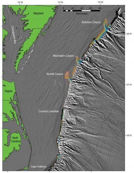 Multibeam bathymetric data collected during the June 2011 Nancy Foster cruise (except for area around upper Norfolk Canyon, surrounded by dashed red line, where data are courtesy of Rod Mather, University of Rhode Island). These show areas that